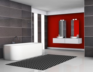Bathroom interior with modern fixtures and contemporary design with black granite tiles and white floor, 3d rendering.