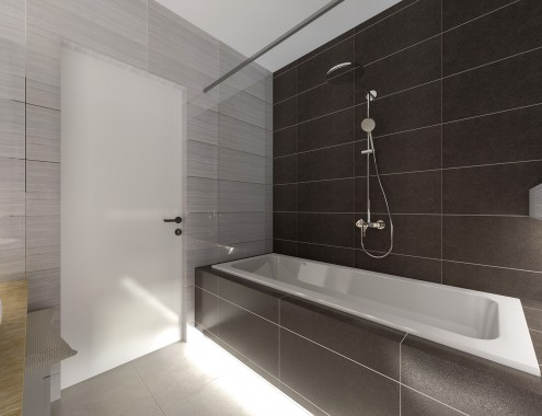 Grey bathroom interior